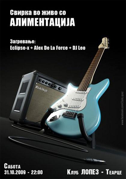 ROCK meets HOUSE: Alimentacija band vs. 3 DJs (Eclipse-X, Alex De La Force, DJ Leo) @ Lopez club, Tearce